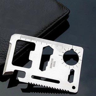 Estojo de couro + Cartão Faca Faca de Sobrevivência De Emergência Mini Multi Ferramenta Sobrevivência de Aço Inoxidável Suíço 11 em 1 ferramentas de Cartão
