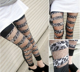 Wholesale Leopard Stretch Pants - Funky Pants Ladies Womens Leggings Sexy Stretch Leopard Ripped Mesh Pantyhose Tights Slim Thin Trousers Feet New