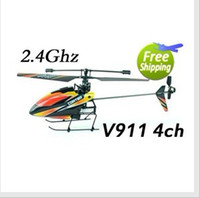 Wholesale Helicopter Radio Single - 4CH 2.4Ghz V911 RC Helicopter 23cm Radio Remote Control RTF single propeller LCD Display Gyro
