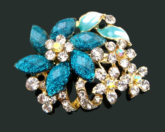 Wholesale hot sell Women Gold plated Zinc alloy rhinestone flowers Pins Brooches fashion jewelry Free shipping 12pcs lot mixed color BH611