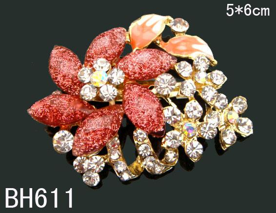 Wholesale hot sell Women Gold plated Zinc alloy rhinestone flowers Pins Brooches fashion jewelry mixed color BH611