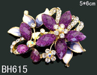 Wholesale hot sell Women Zinc alloy rhinestone flowers fashion Brooches costume jewelry mixed color BH615