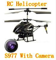 rc helicopter black al por mayor-Regalos de Navidad WL S977 3.5 CH Radio Control Metal Gyro Rc Helicóptero con cámara (Negro)