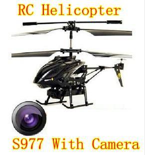 Cadeaux de Noël WL S977 3.5 CH hélicoptère gyroscope RC avec télécommande radio en métal avec caméra (noir)
