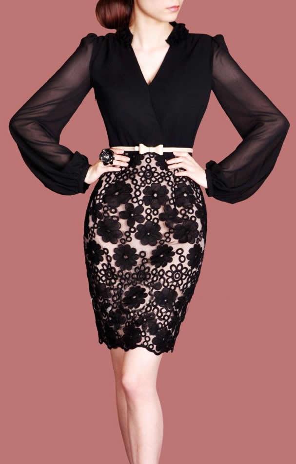 V-neck långärmad klänning mode kvinnor arbetsklänning