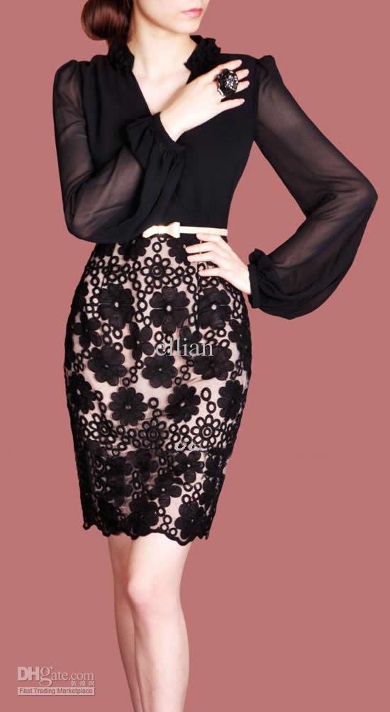 V-hals lange mouw jurk mode vrouwen jurk m L XL XXL grootte