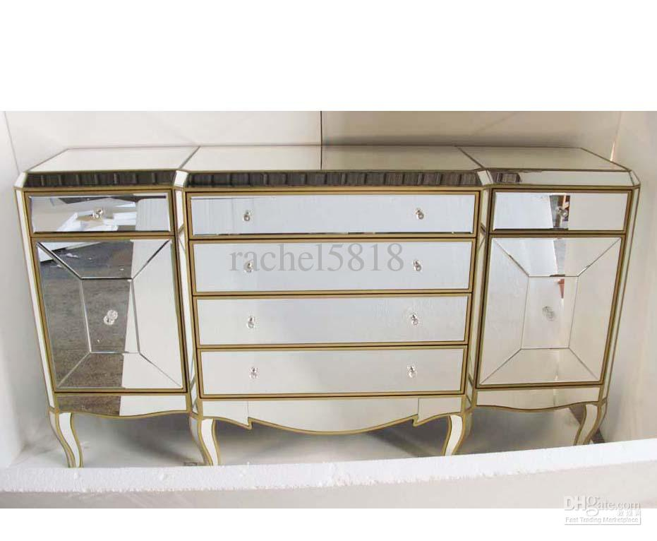 See larger image - 2018 Mr 401053 Mirrored Furniture With Antique Gold Finish From