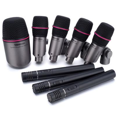 top drum takstar dms dh8p drum microphone set series kick small drum condenser mic microphone. Black Bedroom Furniture Sets. Home Design Ideas