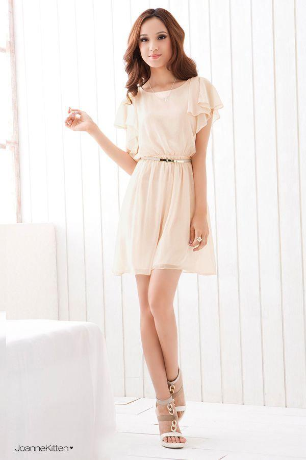 Womens Flow Short Sleeve Chiffon Dress Summer Dress Red/Apricot ...
