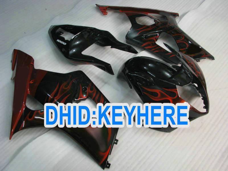 S04スズキGSX R1000 2003 2003 K3 GSXR1000のための赤い炎フェアリングをカスタマイズする03 04フェアリング