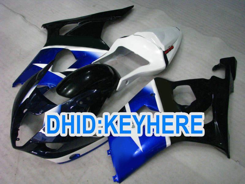 S07 Anpassa Black Blue ABS Fairings för Suzuki GSX-R1000 2003 2004 K3 GSXR1000 03 04 ABS FAIRING