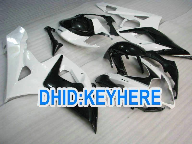 S12 ABS personalizar kit de carenado blanco negro para Suzuki GSX-R1000 2005 2006 K5 GSXR1000 05 06 carenado
