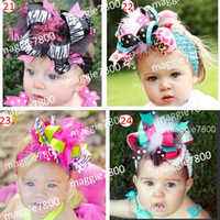 """Wholesale Over Top Hair Bows - 6"""" Over the Top Large Boutique Hair Bow hair clipsgirls handmade hairbows with feather A304"""