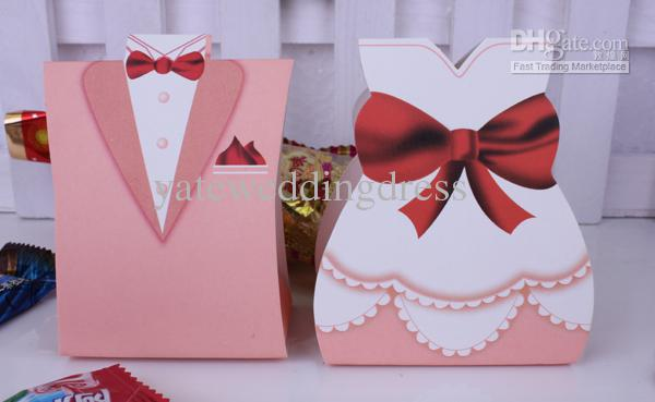Best Sale Candy Box ! 200 pcs bride groom wedding bridal favor candy box gift boxes gown tuxedo
