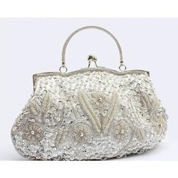 Wholesale Evening Clutch Handbags Satin - 2017 Classic wedding Bridal Clutch 100% handmade Party Evening Handbag elegant Delicate sequin Beaded Lady Purse