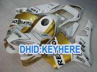 honda cbr repsol kiti toptan satış-H02 Enjeksiyon altın beyaz ABS repsol yarış Honda CBR600RR 2003 2004 CBR 600RR 03 04 için Fairing kiti