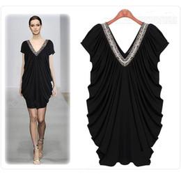 Wholesale Womens Xl Beaded - Womens dresses ladies Plus size beaded V neck ruffles prom dress party dress evening dress 5502