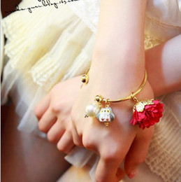 Wholesale Porcelain Owl - Jewelry Gold Plated bracelet Womens owl Satin flower pearl open Bracelet Bangle Stainless steel