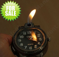 Wholesale Gas Lighter Watch - 2 in 1 Leather Wrist Watch Design Refillable Butane Cigarette Gas Lighter Leather belt retail box