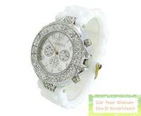 Wholesale geneva double watch - 100pcs Unisex men women's 3 eyes geneva double diamond watch jelly rubber stone silicone crystal watches
