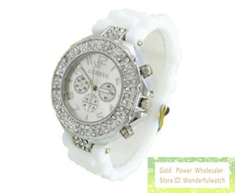 Wholesale Double Diamond Watches - 100pcs Unisex men women's 3 eyes geneva double diamond watch jelly rubber stone silicone crystal watches