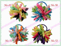 Wholesale Korker Pony - free shipping 220pcs 3'' fashion korker hair bow pony elastic mix color girl baby hiar pony holders