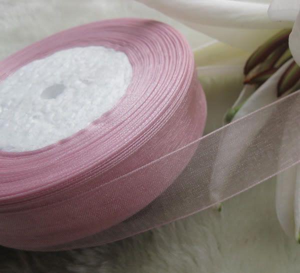 20mm 핑크 Organza 리본 신부 장식 가장자리 선물 쥬얼리 5 롤 1 롤 50yds