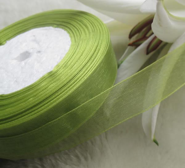 20mm Green Organza Ribbon Bridal Decor Edge Presentpaket Smycken 1 Roll 50YDS
