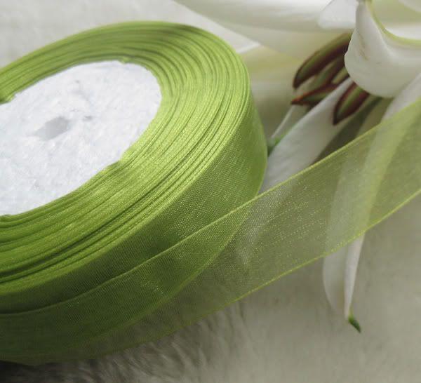 20mm groene organza lint bruids decor rand geschenk pakket sieraden 1 rol 50yds