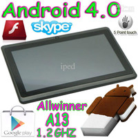 """Wholesale Tablet Inch Ics - 5pcs 7"""" boxchip Allwinner A13 Android 4.0 ICS flat multi touch Capacitive screen Tablet pc wifi MID"""