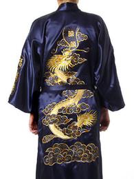Wholesale Satin Silk Robe - Wholesale - Navy Blue Men's Silk Satin embroidery dragon Kimono Robe S M L XL XXL AA