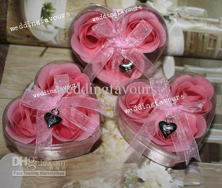 =10Boxes Red Handmade Rose Flower Soap Rose Petals Soap with Heart Shape Box Packing and Charm Party Favors