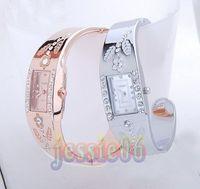 Wholesale Stainless Bangle Ladies - Bracelet watches women lady CZ diamond Jewelry Bangle bracelet Wrist watch Super Christmas gift