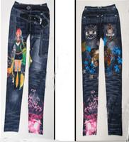 Wholesale Tight Jeans Thin - Fashion trousers feet New Faux Jeans Leggings Funky Stretch Women Girl Leggings Tights Legwear Pants slim thin pants