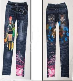 Wholesale Girl Funky - Fashion trousers feet New Faux Jeans Leggings Funky Stretch Women Girl Leggings Tights Legwear Pants slim thin pants