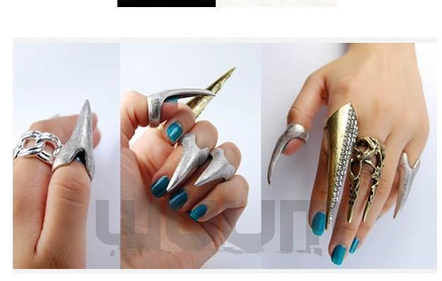 Anillos unisex colmillos de uñas anillos del estilo de la roca