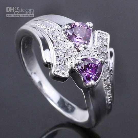 2017 Womens 5x5 Dual Hearts Purple Amethyst Silver Ring Yin J7976