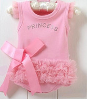 Wholesale Lace Ruffle Rompers For Girls - for summer baby girls pink ruffle lace bow-knot beading princess one-piece rompers bodysuit
