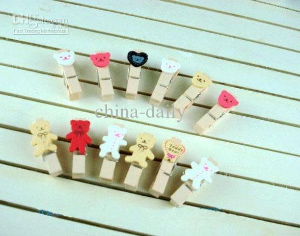 240 Peças Coreano Campo Emocional Urso Dos Desenhos Animados De Madeira Memo Clip Wedding Stationery Baby Clips