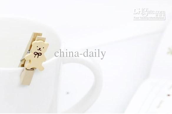 240 Stücke Koreanische Landschaft Emotionale Cartoon Bär Holz Memo Clip Hochzeit Schreibwaren Baby Clips