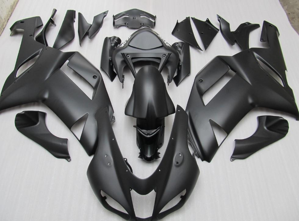 Body FOR KAWASAKI Ninja ZX6R ZX-6R 636 07-08 6R 07 08 2007 2008 matt Black Full Fairing