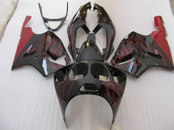 Red Flame bodywork fairing kit for Ninja ZX7R ZX-7R ZX 7R ZZR750 1996 - 2003 96 97 98 99 00 01 02 03