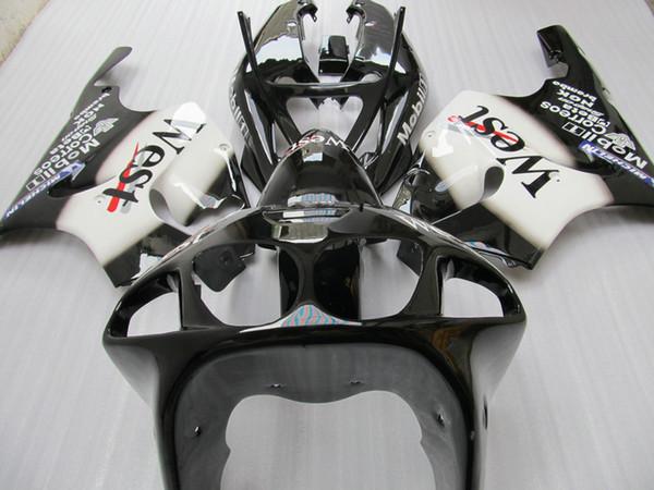 BLK WT WEST fairing Kit FOR KAWASAKI Ninja ZX7R ZX-7R ZX 7R ZZR 750 1996 - 2003 96 97 98 99 00 01 02
