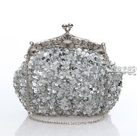 Wholesale Sequin Wedding Clutch - 2017 Free Shipping Fashion Silver 100% handmade Party Lady elegant Sequin Heavy Beaded wedding Bridal handbag