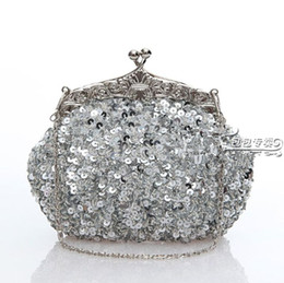 Wholesale Silver Bridal Party Clutches - 2017 Free Shipping Fashion Silver 100% handmade Party Lady elegant Sequin Heavy Beaded wedding Bridal handbag
