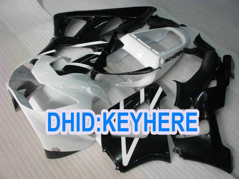 H113 carroçaria de corrida preta branca apto para Honda 2000 2001 CBR900RR 929 CBR 900RR 00 01 carenagem