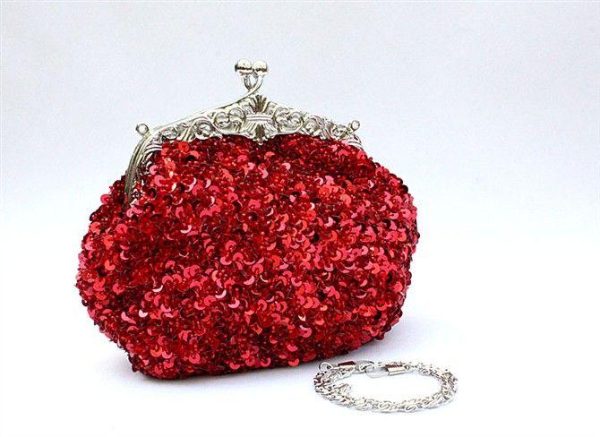 Envío gratis lentejuelas de señora con cuentas de oro vintage fiesta noche bolso de mano embrague boda bolso de novia
