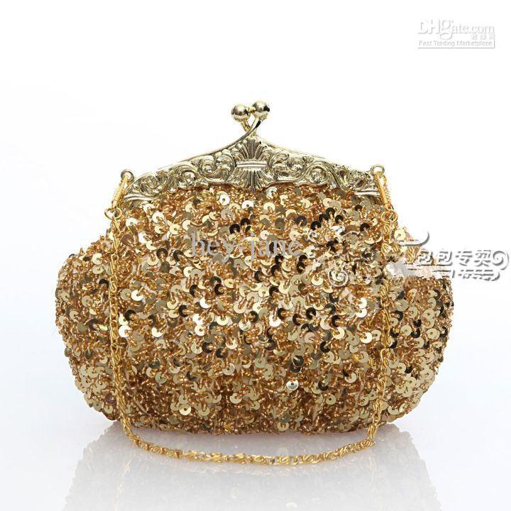 Gratis frakt Lady's Sequin Beaded Gold Vintage Party Evening Handväska Koppling Bröllop Bridal Handväska