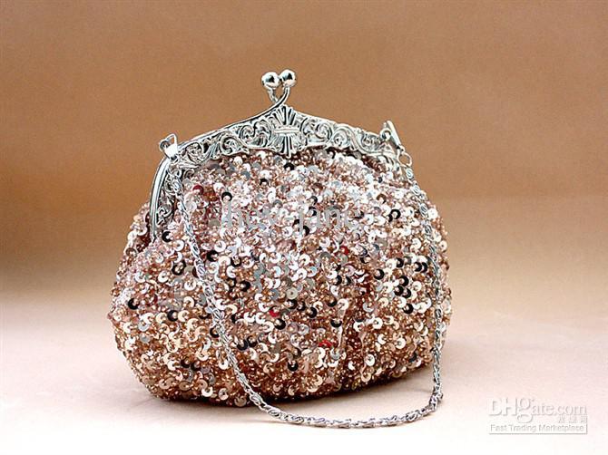 Lady Sequin Clutch Beaded Vintage Party Evening Handväska Bröllop Bröllop Handväska Klassisk Gratis Frakt Shinny Unik 031
