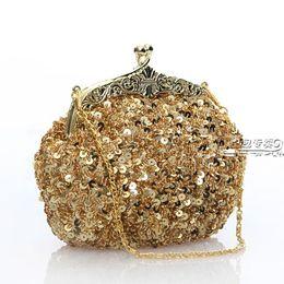 Бесплатная доставка женская блесток из бисера золото винтаж вечеринка вечерняя сумочка клатч свадебная свадебная сумка от